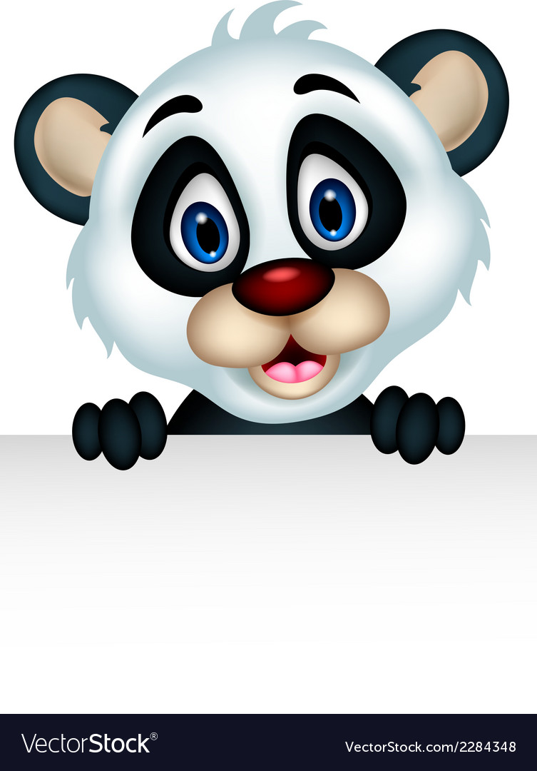 Cute panda cartoon posing with blank sign vector | Price: 1 Credit (USD $1)