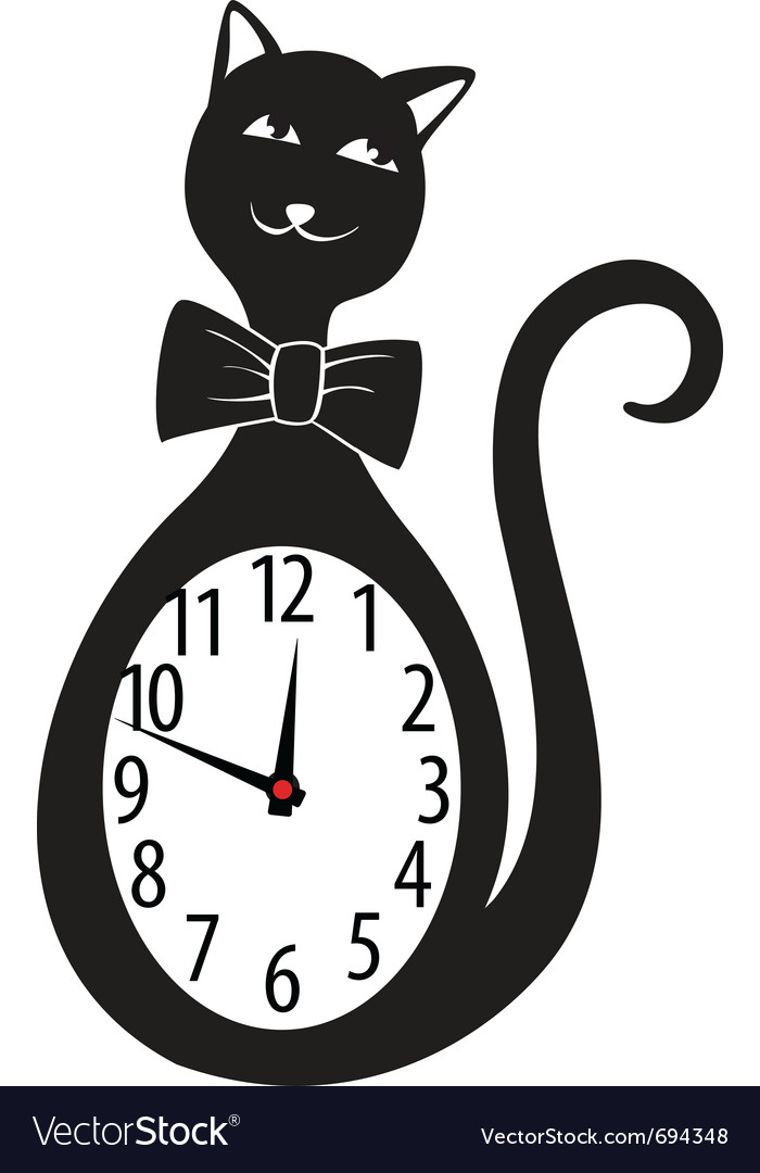 Cute wall clock cat sticker vector | Price: 1 Credit (USD $1)