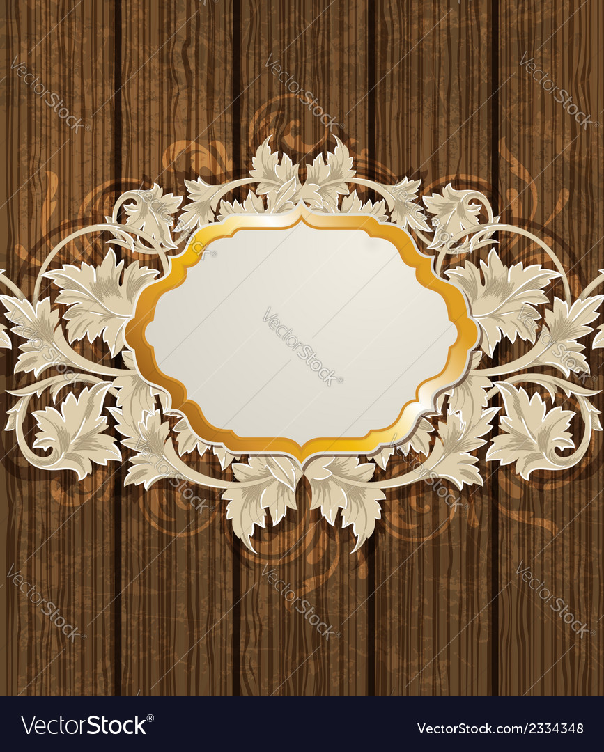 Golden label and floral ornament vector | Price: 1 Credit (USD $1)