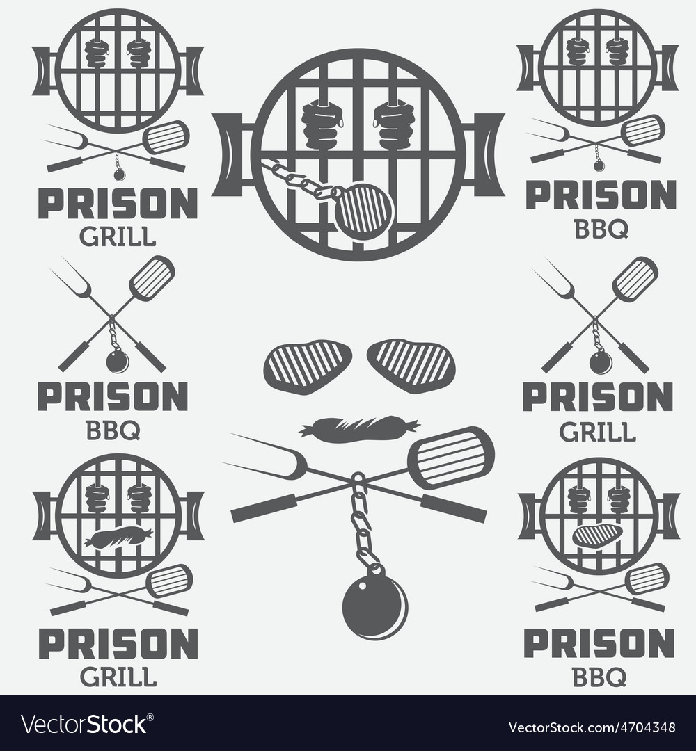 Prison bbq concept labels set vector | Price: 1 Credit (USD $1)