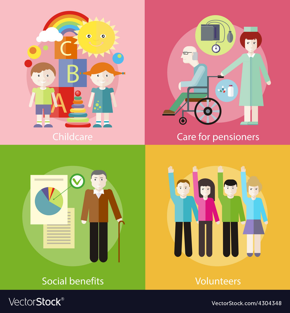 Volonteer childcare care pensioners social benefit vector | Price: 1 Credit (USD $1)