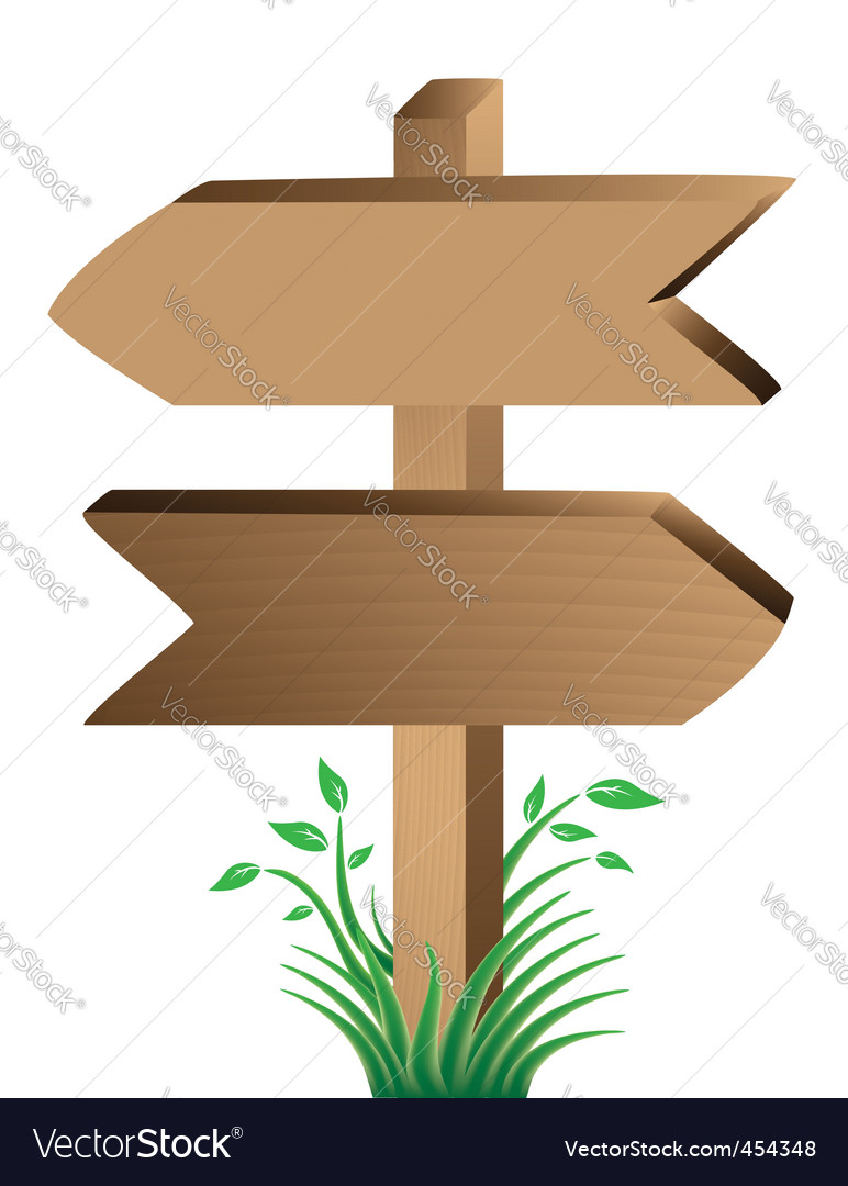 Wooden sign grass and leaves vector | Price: 1 Credit (USD $1)