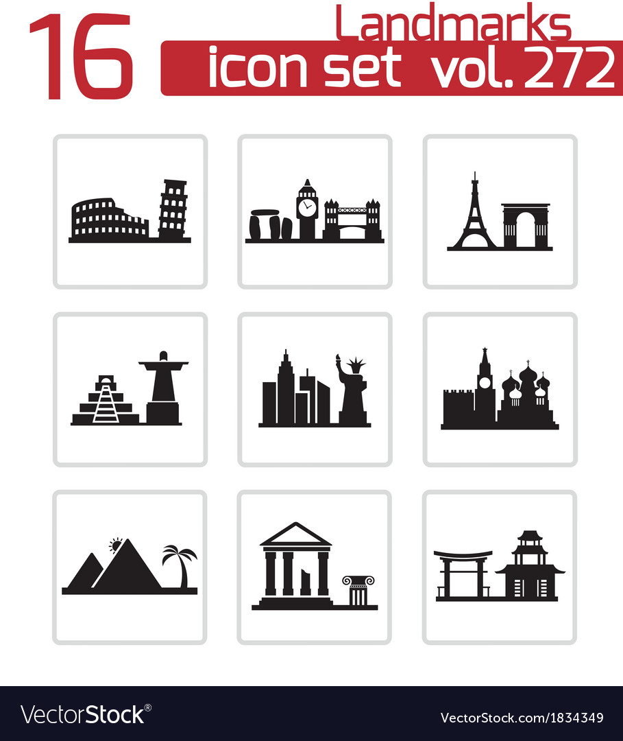 Black landmarks icons set vector | Price: 1 Credit (USD $1)