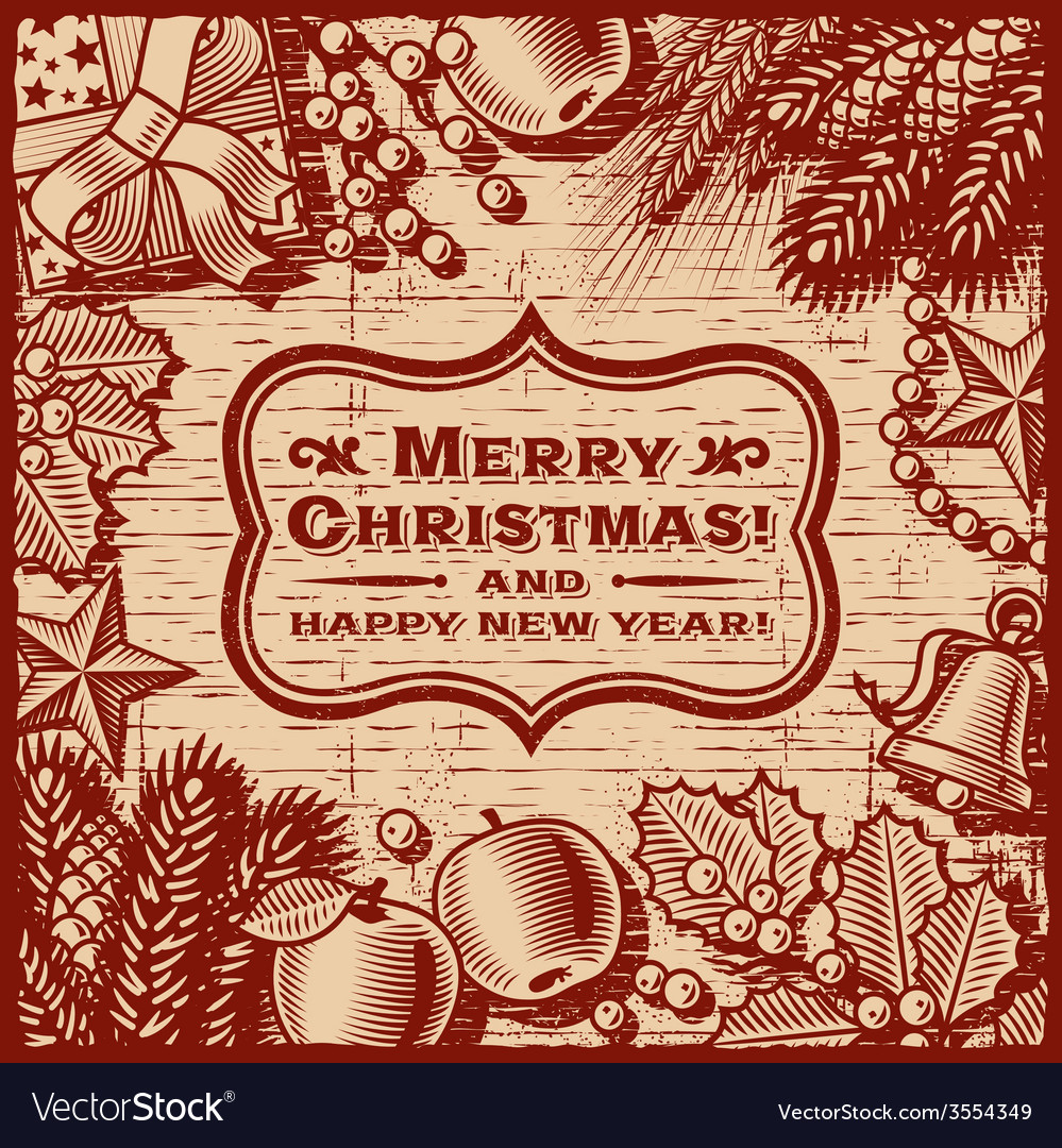 Christmas retro card brown vector | Price: 3 Credit (USD $3)