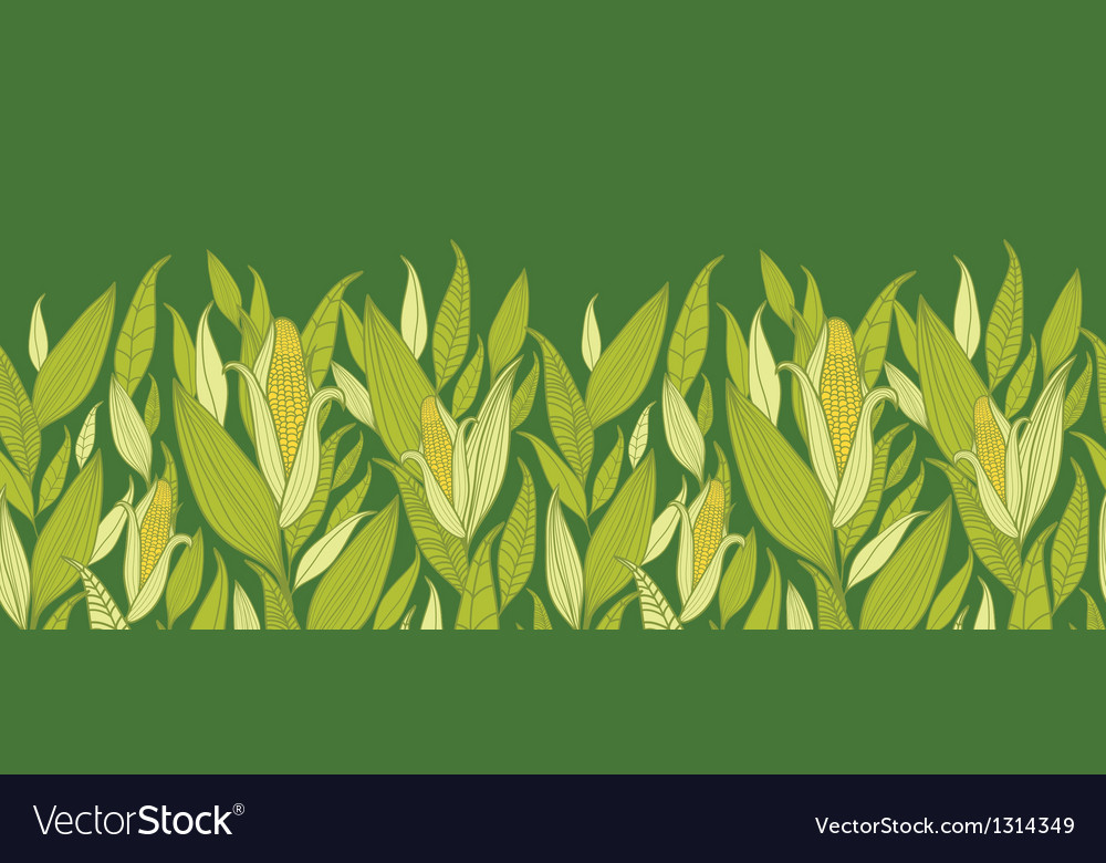 Corn plants horizontal seamless pattern background vector | Price: 1 Credit (USD $1)