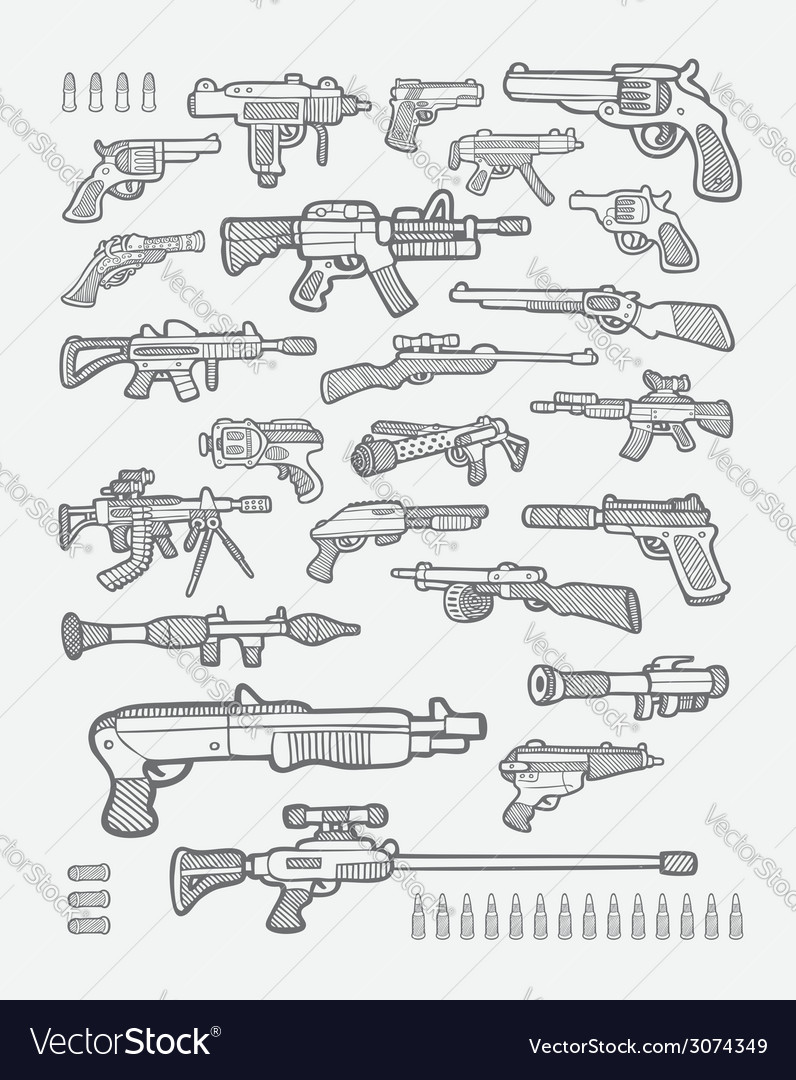 Gun icons sketches vector | Price: 1 Credit (USD $1)