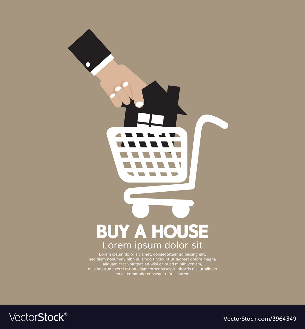 House in shopping cart buy a house concept vector | Price: 1 Credit (USD $1)