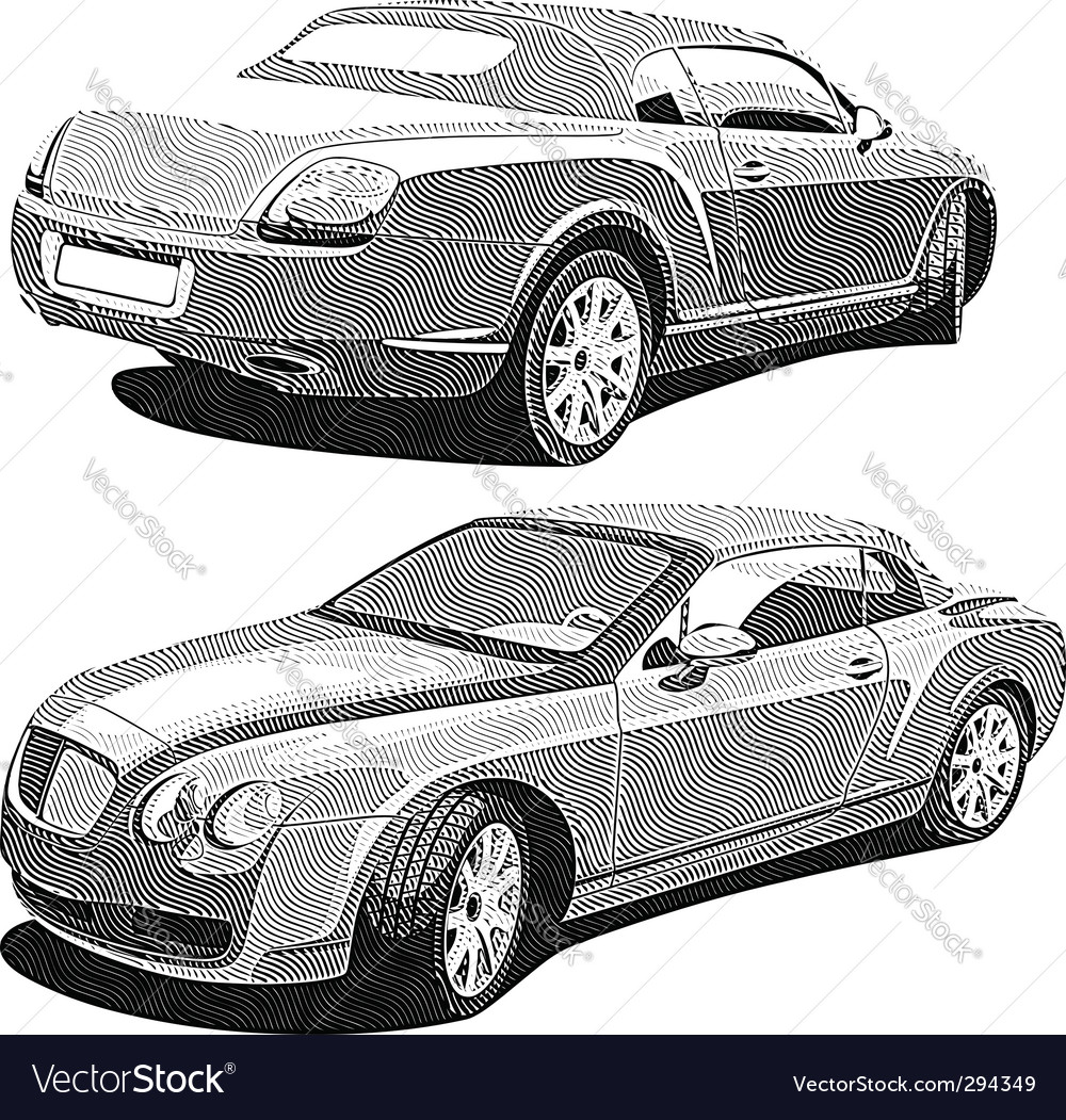 Luxury car engraving vector | Price: 1 Credit (USD $1)