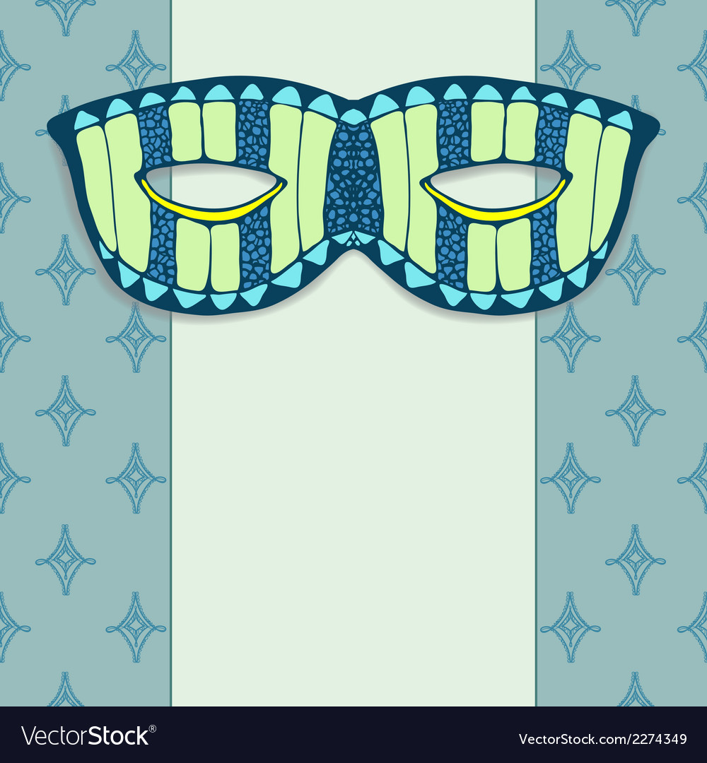 Masquerade mask on a blue background vector | Price: 1 Credit (USD $1)