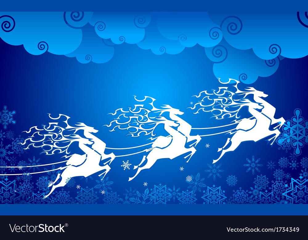 Reindeer pulling sledge vector | Price: 1 Credit (USD $1)