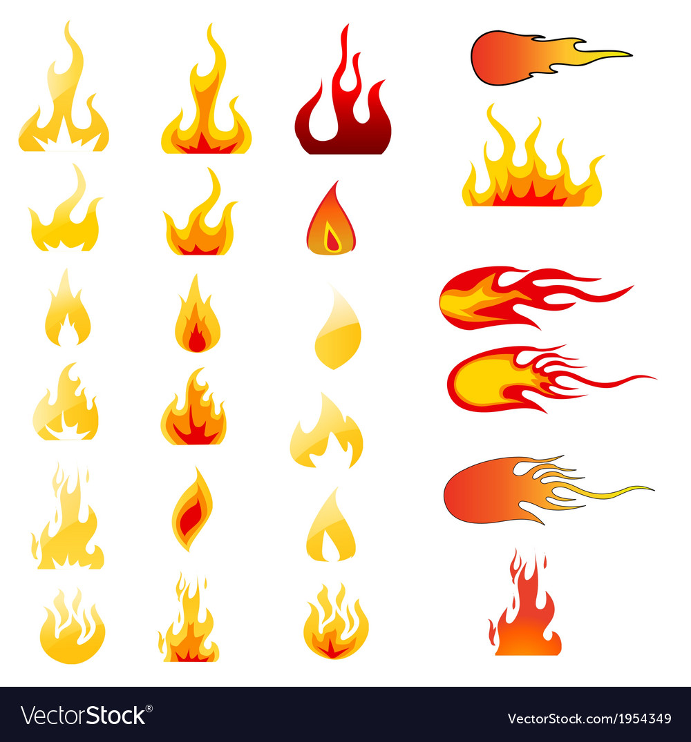 Set of flame icons vector | Price: 1 Credit (USD $1)