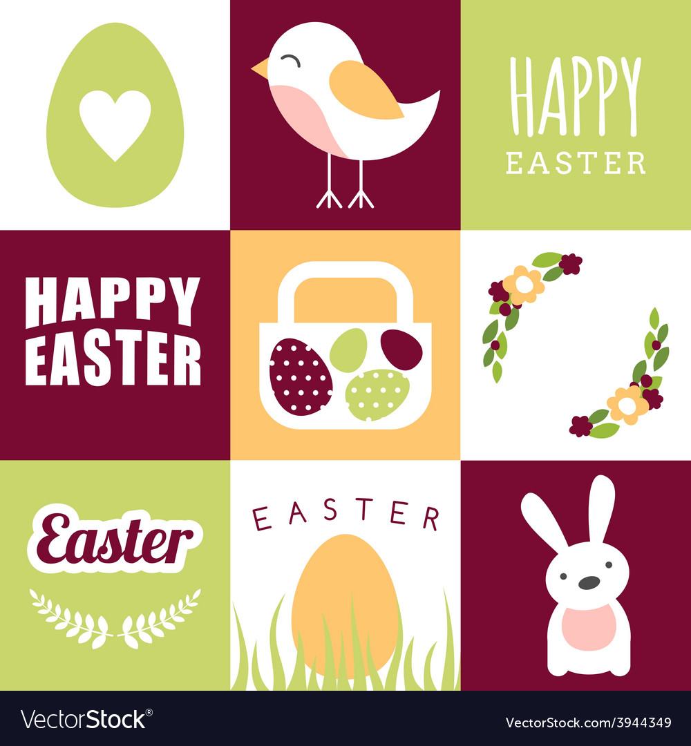 Set of happy easter design elements and vector | Price: 1 Credit (USD $1)