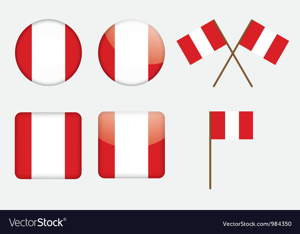 Badges with flag of peru vector | Price: 1 Credit (USD $1)