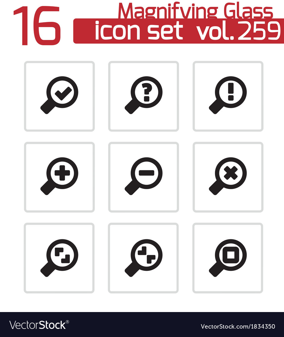 Black magnifying glass icons set vector | Price: 1 Credit (USD $1)