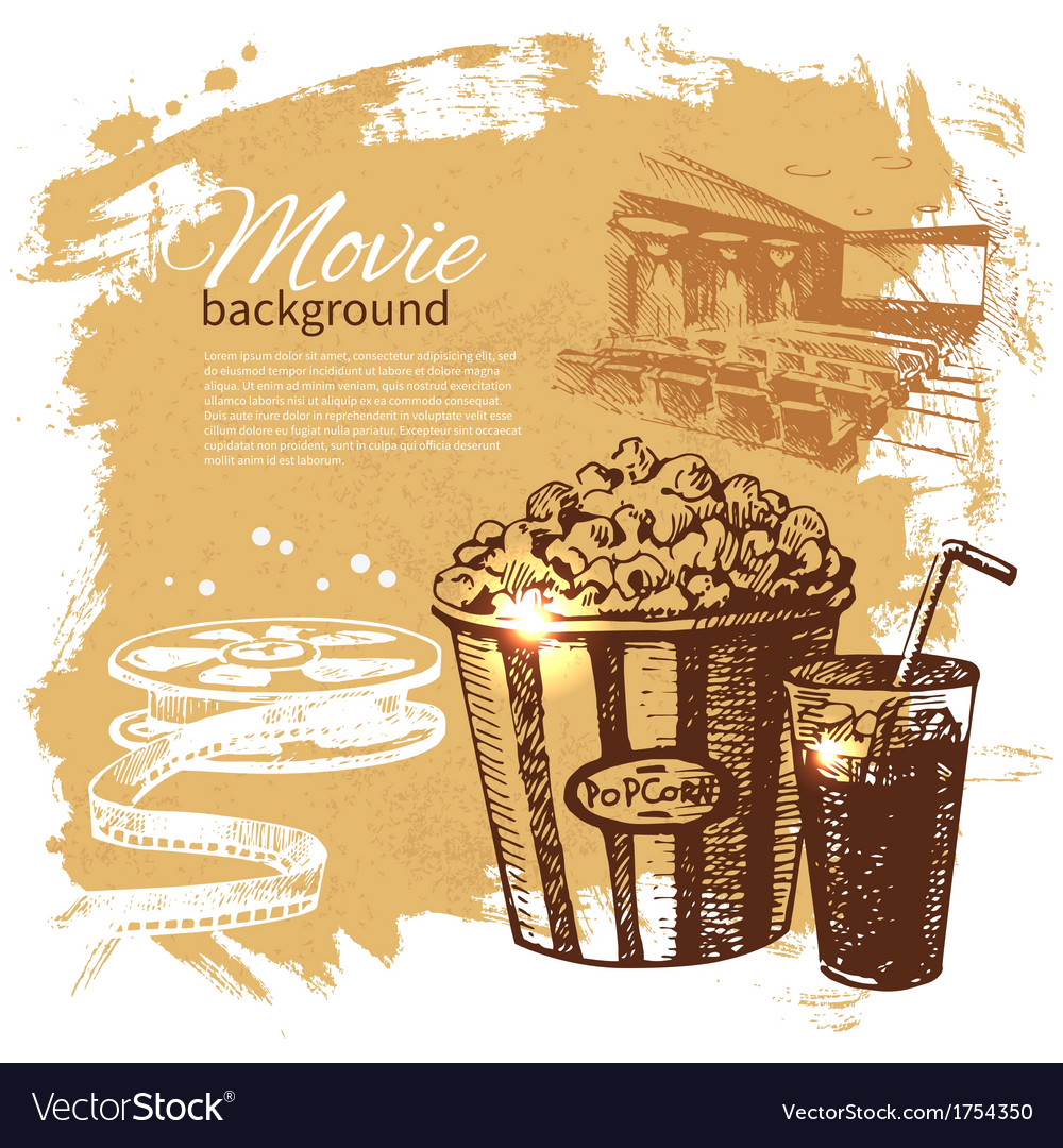 Hand drawn vintage movie and cinema background vector | Price: 1 Credit (USD $1)