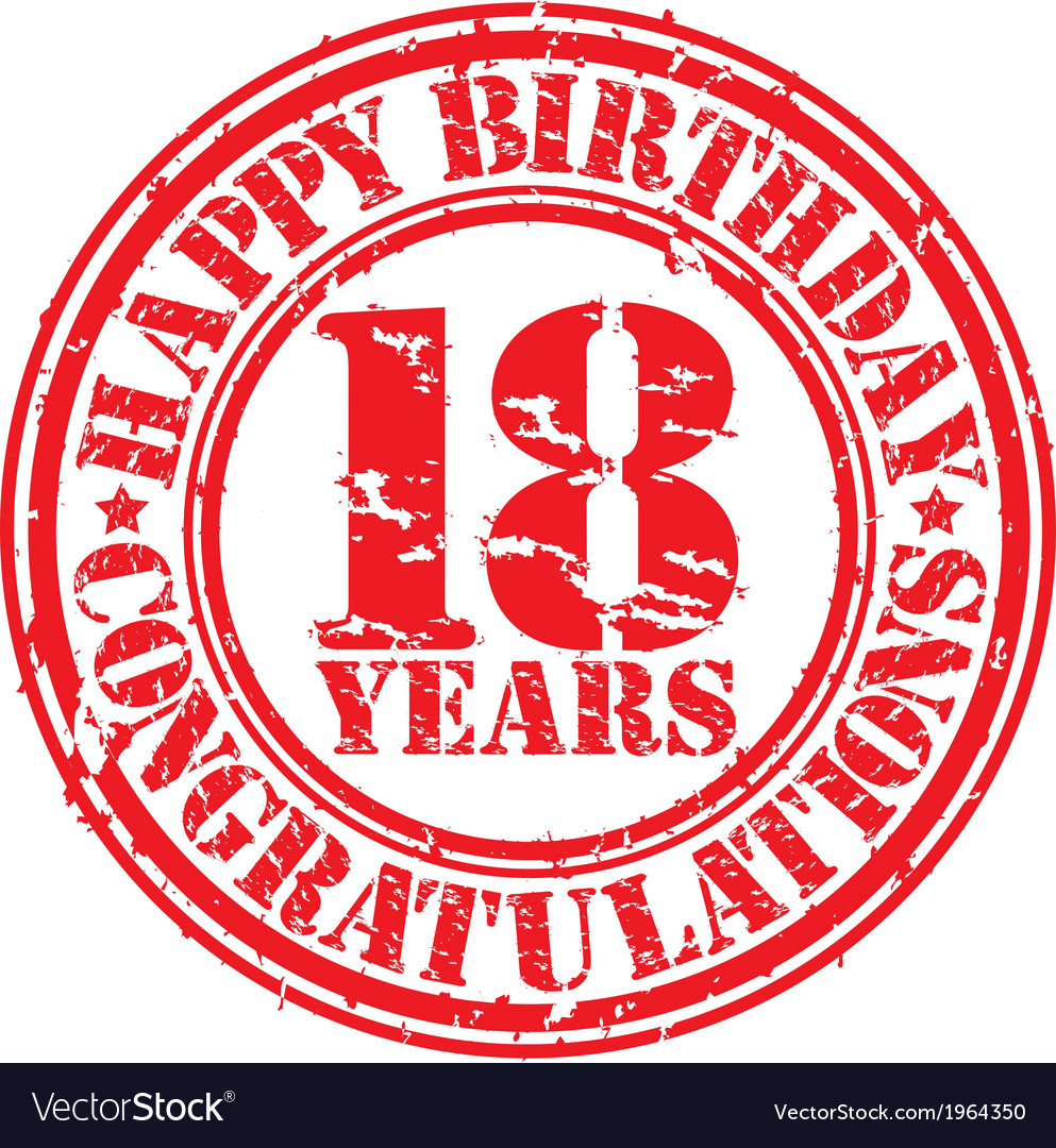 Happy birthday 18 years grunge rubber stamp vector | Price: 1 Credit (USD $1)