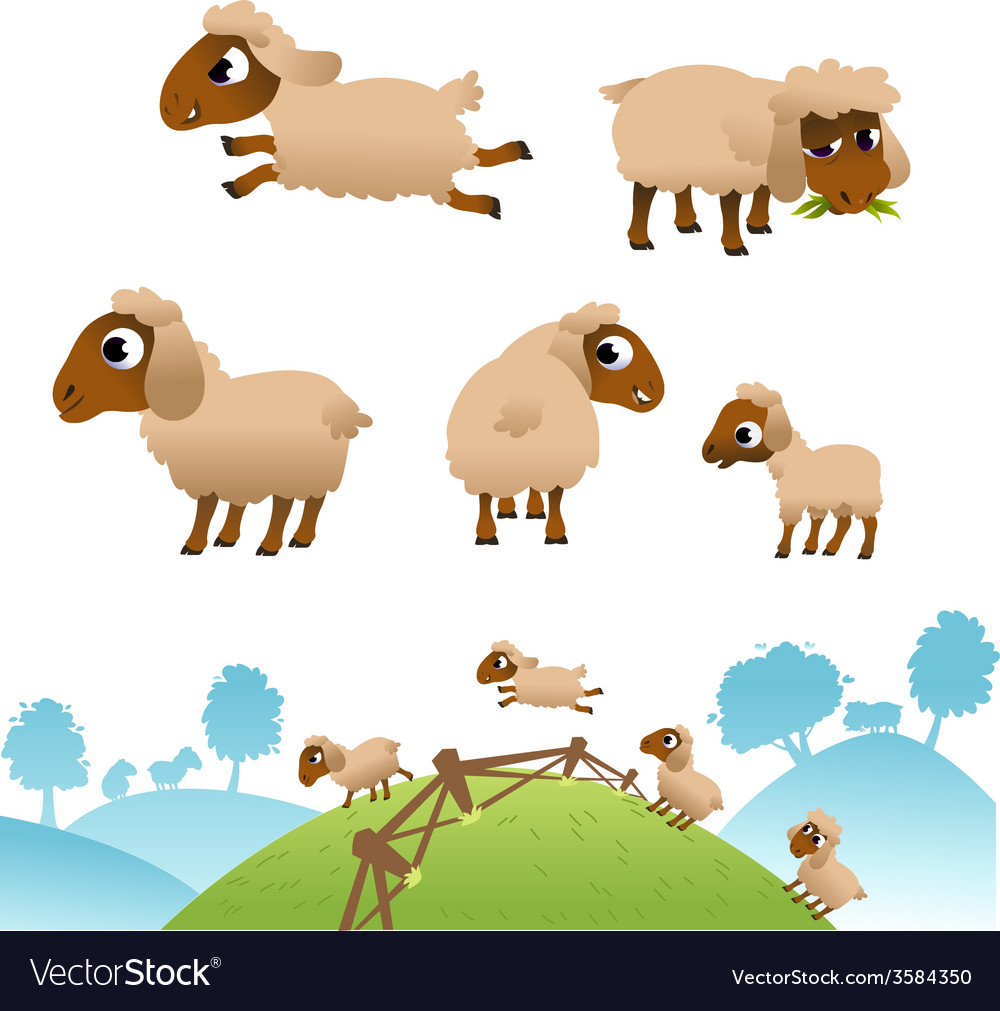 Landscape and set of sheep and lambs vector | Price: 1 Credit (USD $1)
