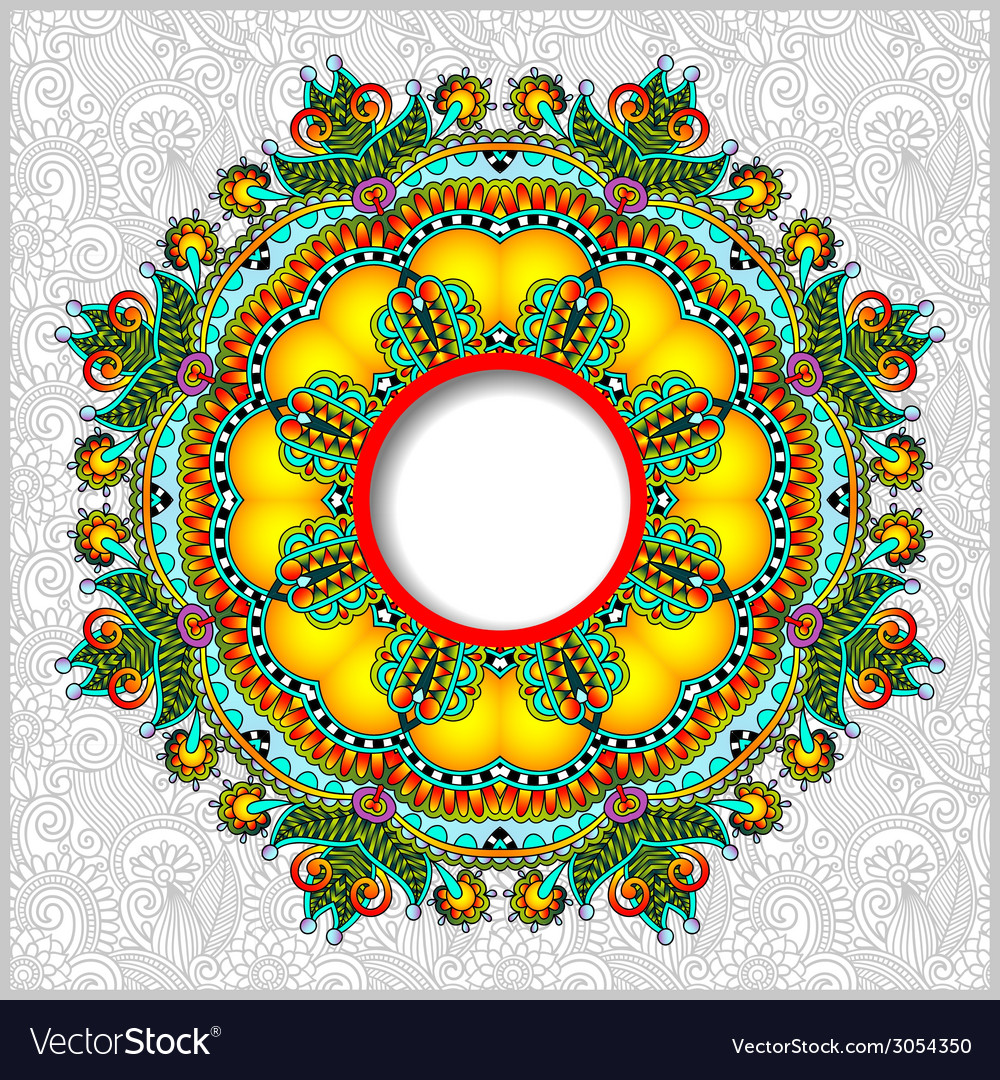 Round ornamental frame circle floral background vector | Price: 1 Credit (USD $1)