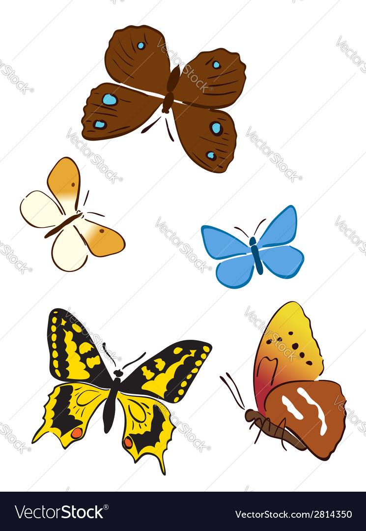 Set of bright butterflies vector | Price: 1 Credit (USD $1)