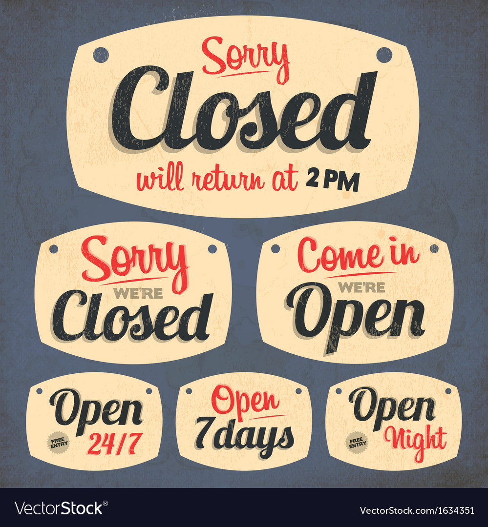 172retro vintage open closed sign collection vector | Price: 1 Credit (USD $1)