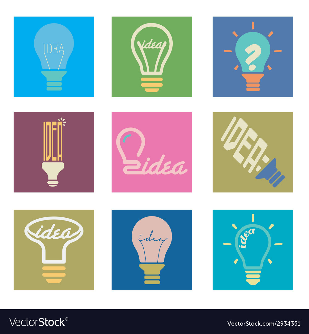 Bulb idea icons set vector | Price: 1 Credit (USD $1)