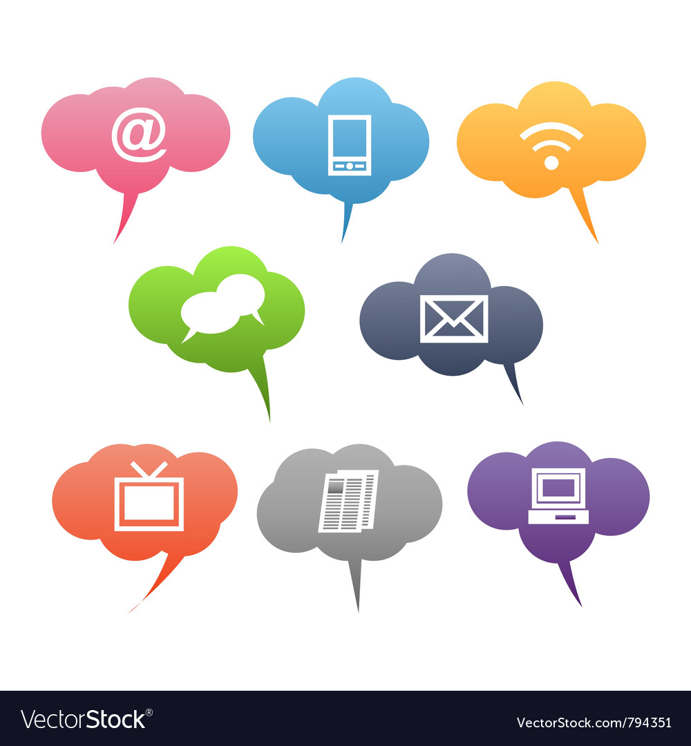 Colored communication symbols vector | Price: 1 Credit (USD $1)