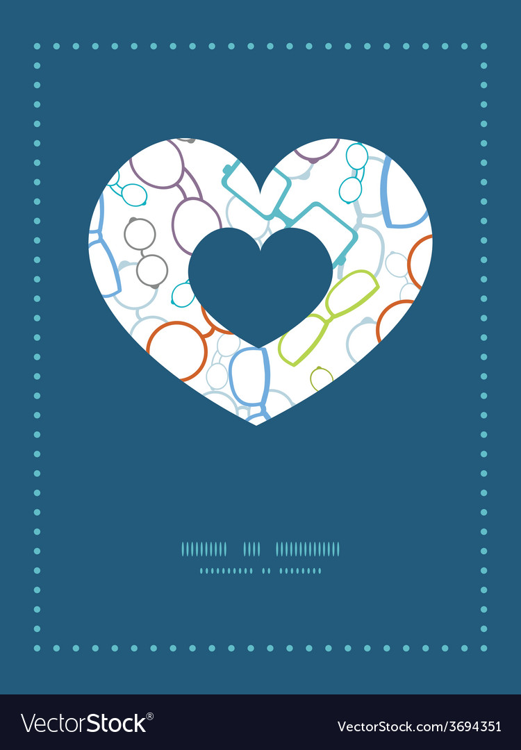 Colorful glasses heart symbol frame pattern vector | Price: 1 Credit (USD $1)