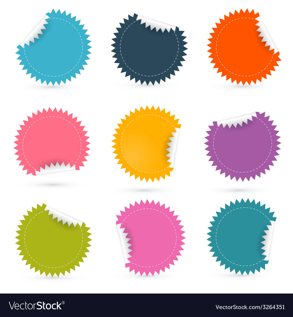 Colorful paper empty stickers - labels set vector | Price: 1 Credit (USD $1)