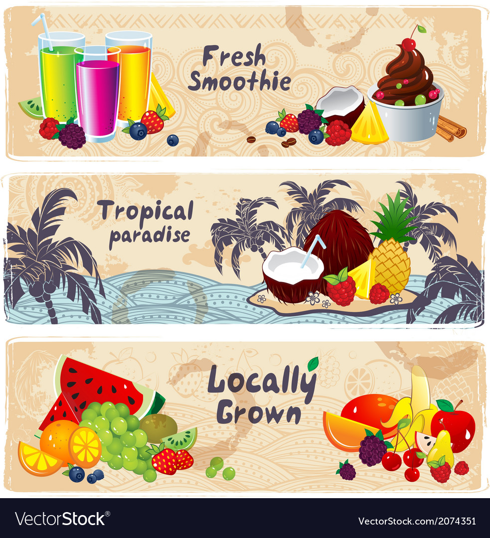 Hand drawn set of vintage fruit banners vector | Price: 1 Credit (USD $1)