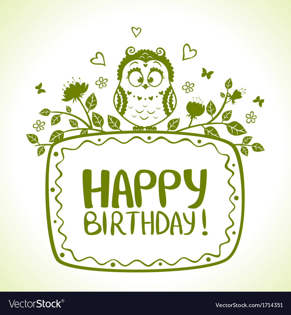 Owl birthday vector | Price: 1 Credit (USD $1)