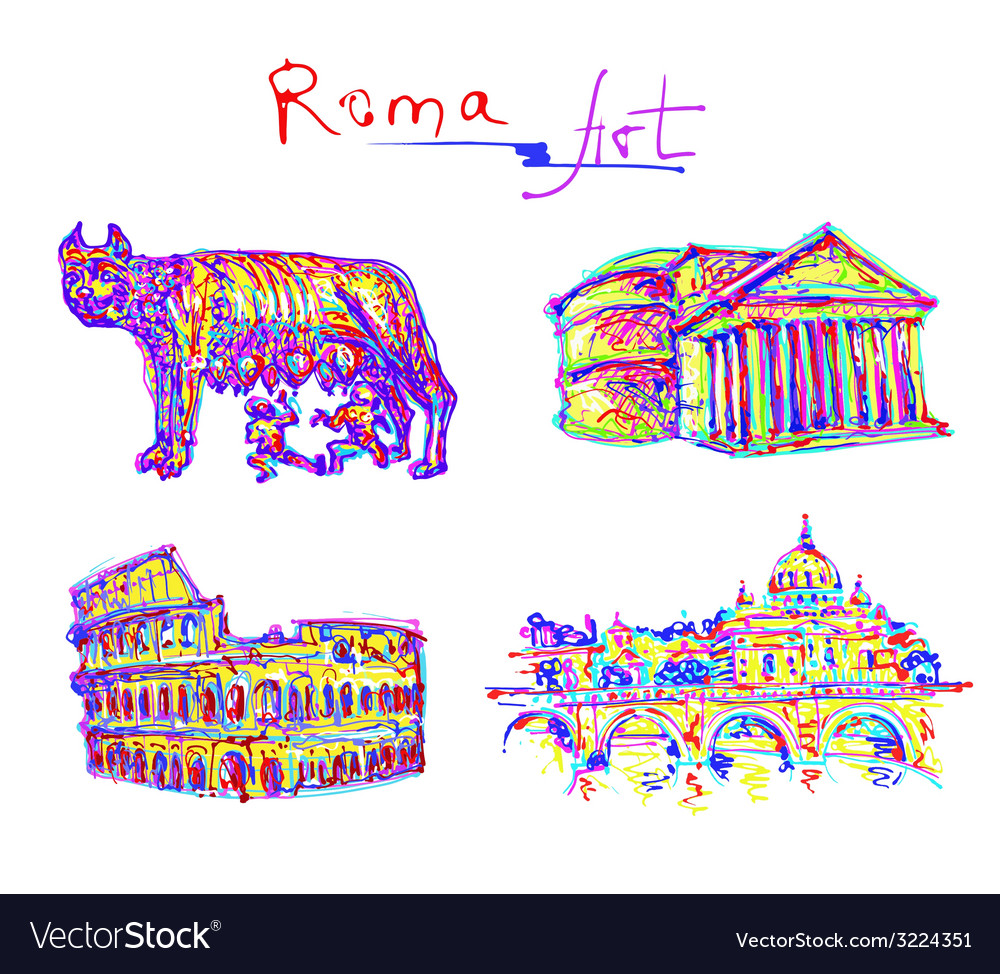 Set famous place of rome italy original drawing in vector | Price: 1 Credit (USD $1)