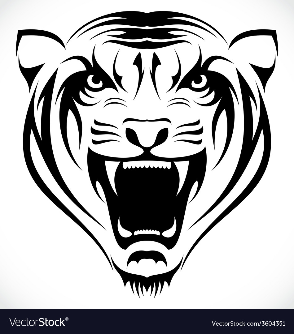 Tiger face tattoo design vector | Price: 1 Credit (USD $1)