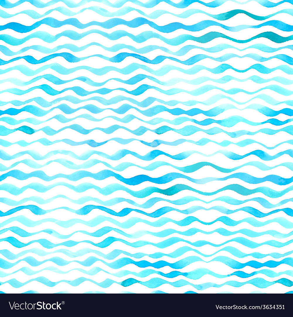 Watercolor seamless pattern of waves vector | Price: 1 Credit (USD $1)