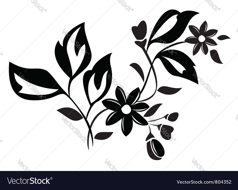 Black herbal element for design vector | Price: 1 Credit (USD $1)