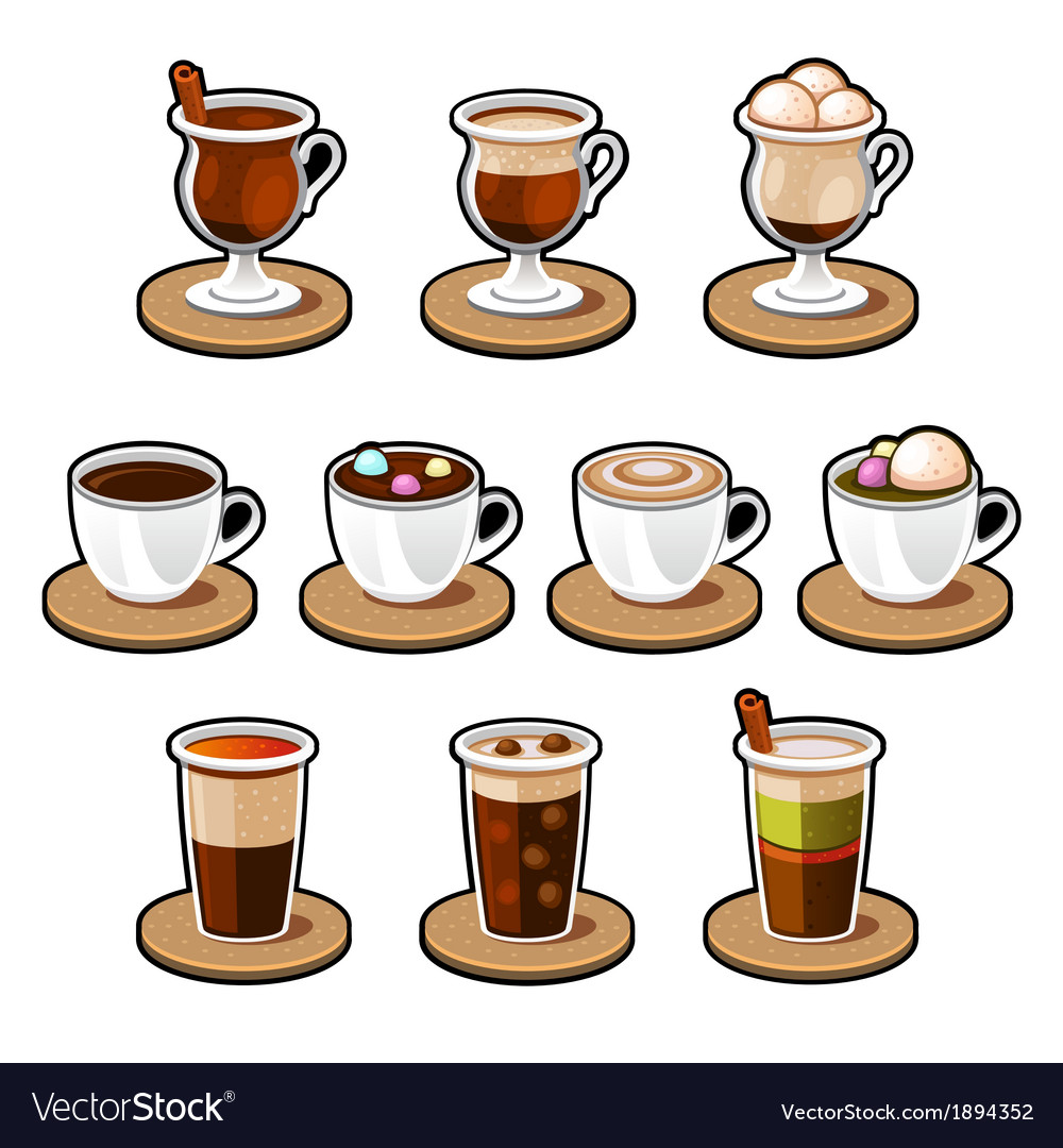 Coffee and tea cup set vector | Price: 1 Credit (USD $1)