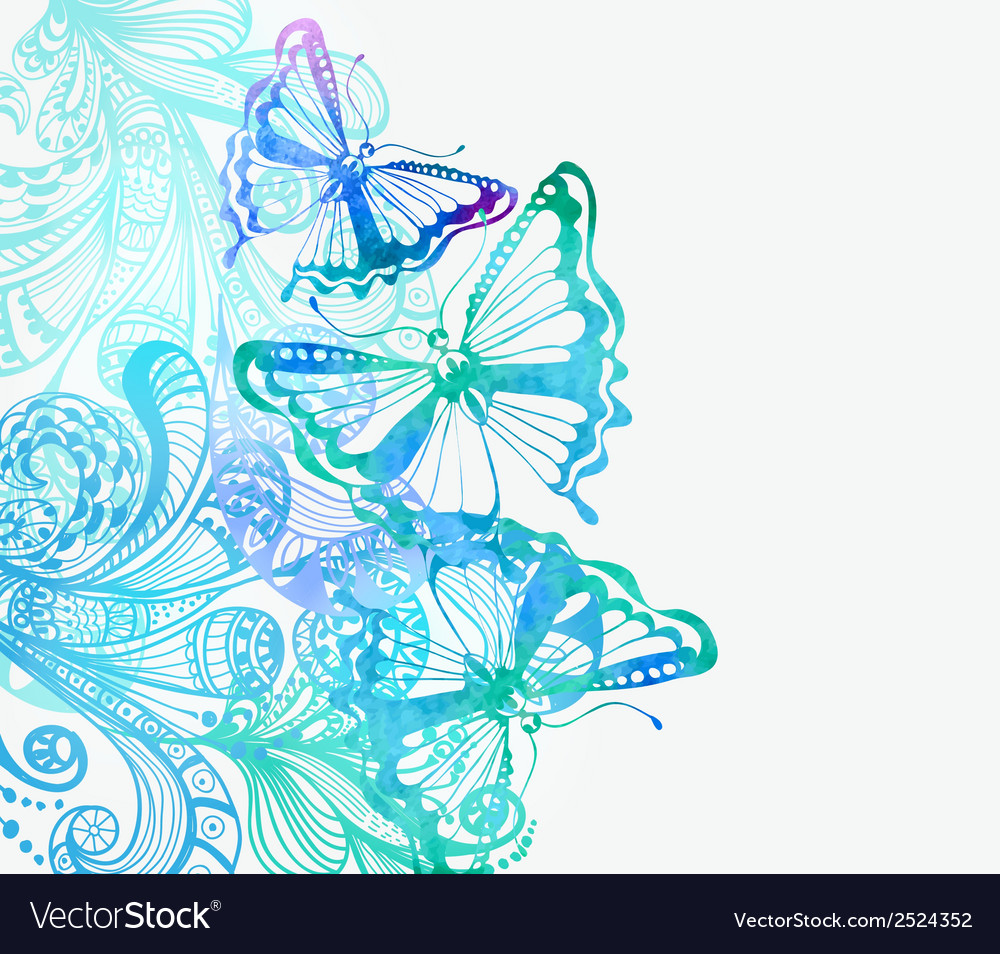 Colorful background with butterfly and floral vector | Price: 1 Credit (USD $1)
