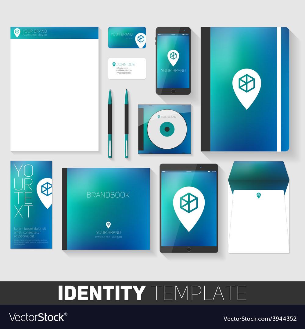 Corporate stationery design template flat design vector | Price: 1 Credit (USD $1)