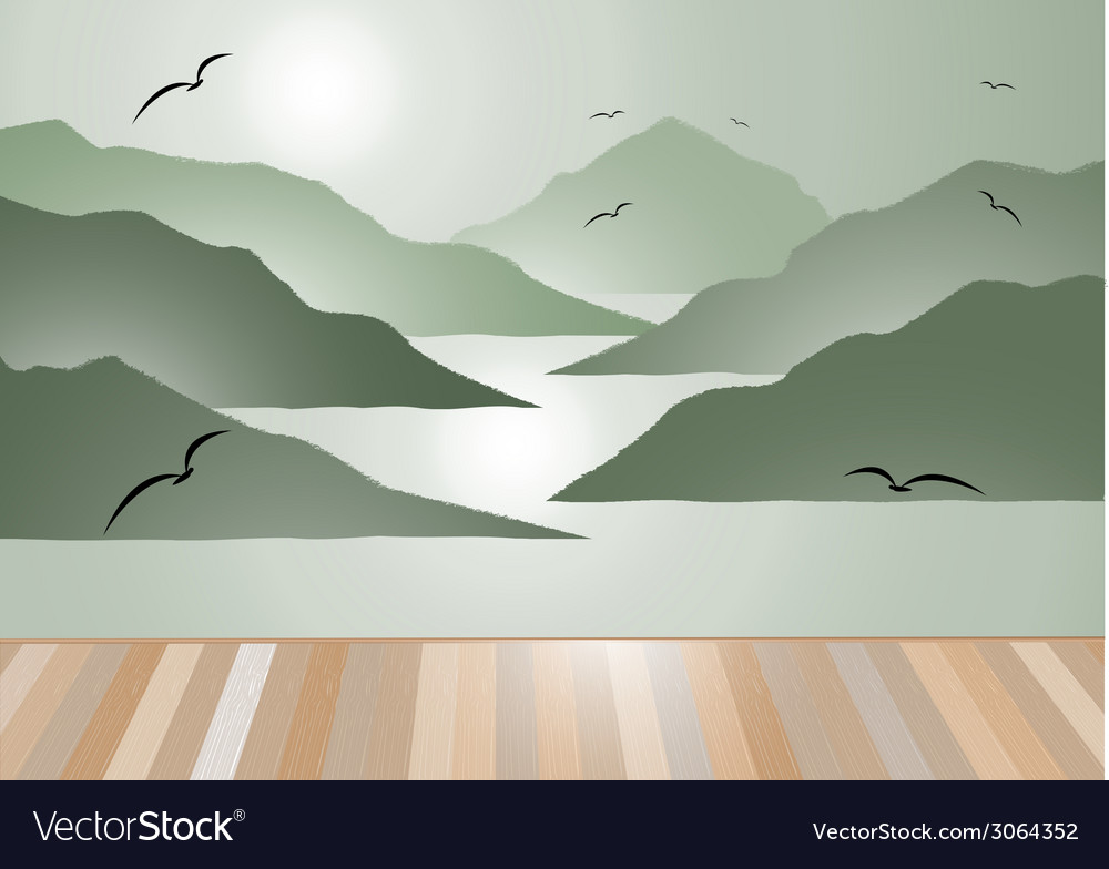 Island view with wooden floor background vector | Price: 1 Credit (USD $1)