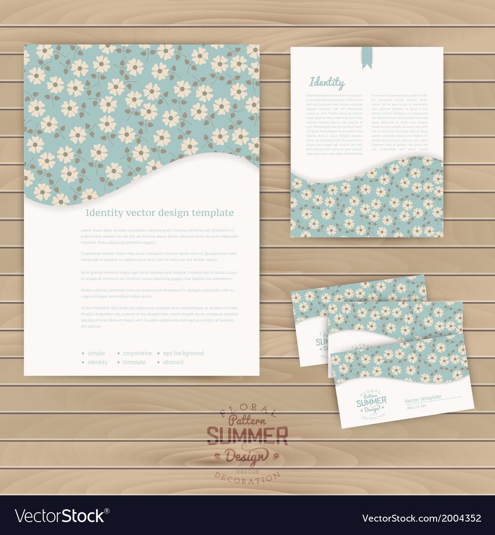 Set of floral vintage wedding cards on wood vector | Price: 1 Credit (USD $1)