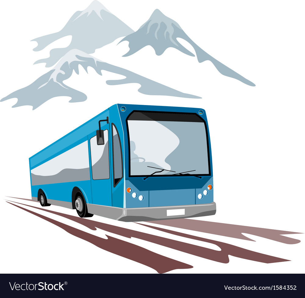 Shuttle coach bus and mountains vector | Price: 1 Credit (USD $1)