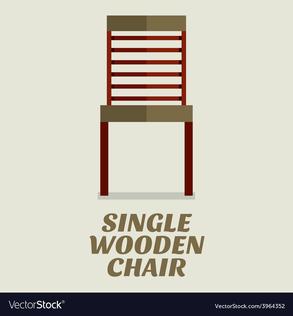 Single wooden chair flat design vector | Price: 1 Credit (USD $1)