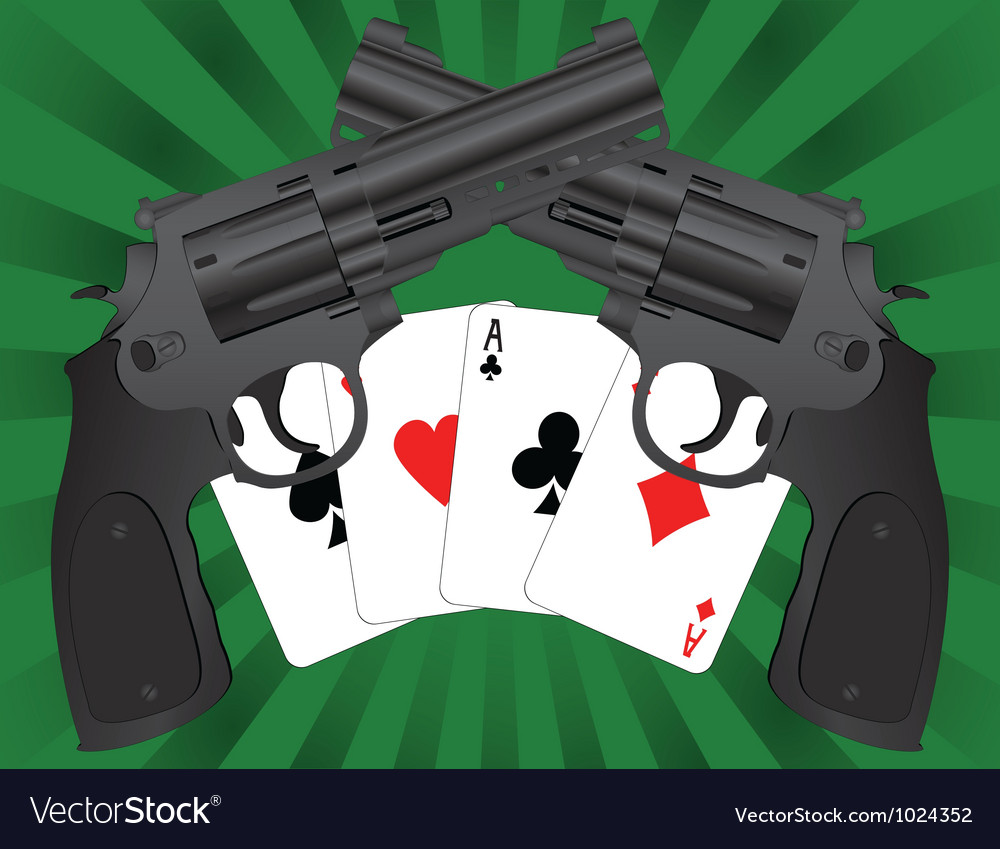 Two pistols and four aces vector | Price: 1 Credit (USD $1)