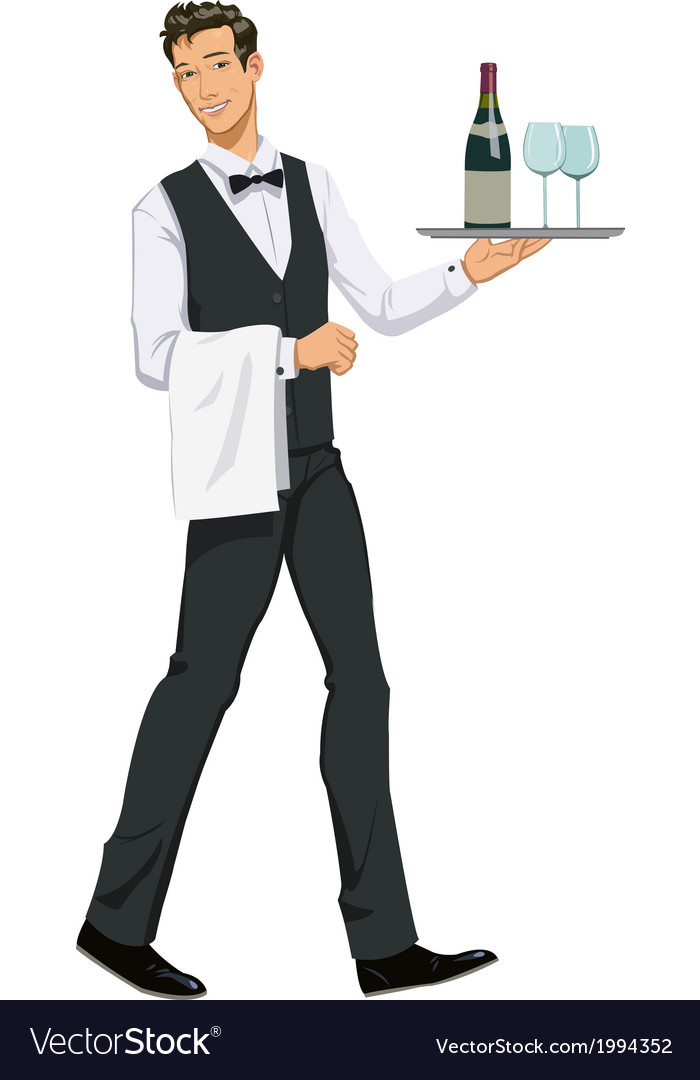 Waiter with a tray vector | Price: 1 Credit (USD $1)