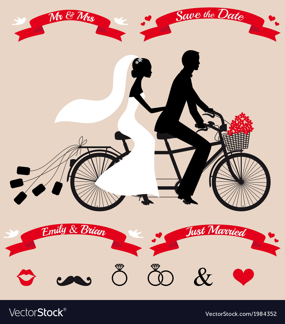 Wedding couple on tandem bicycle set vector | Price: 1 Credit (USD $1)