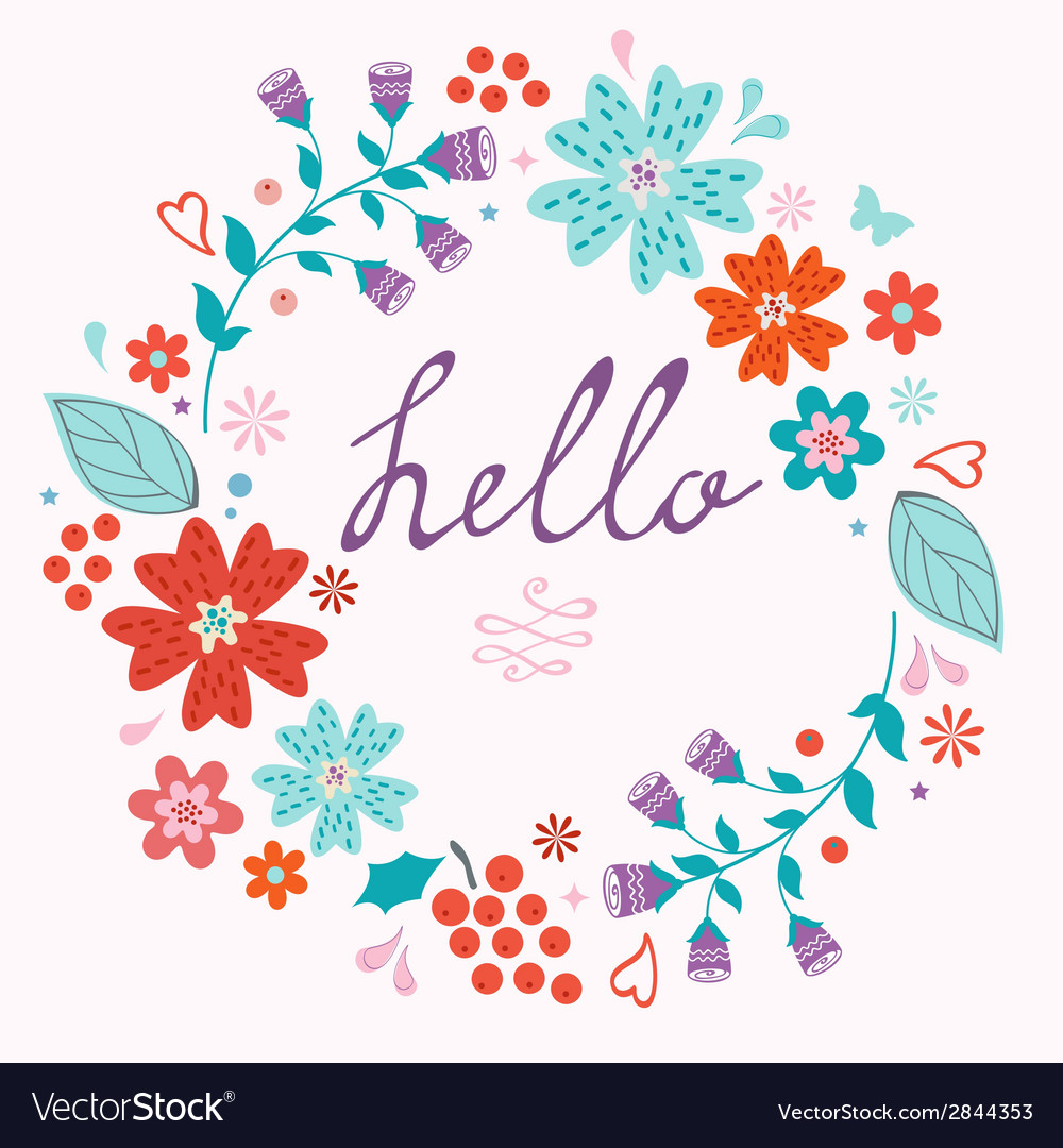 Beautiful hello card with floral wreath vector | Price: 1 Credit (USD $1)