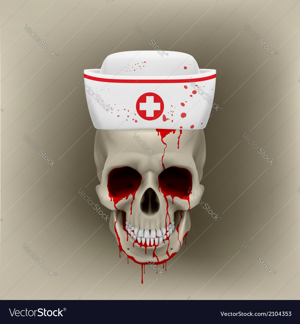 Bleeding skull in nurse cap vector | Price: 1 Credit (USD $1)