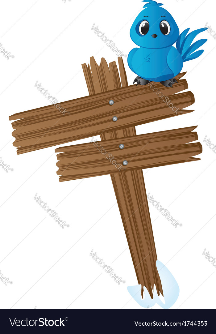 Blue bird on wood sign vector | Price: 1 Credit (USD $1)