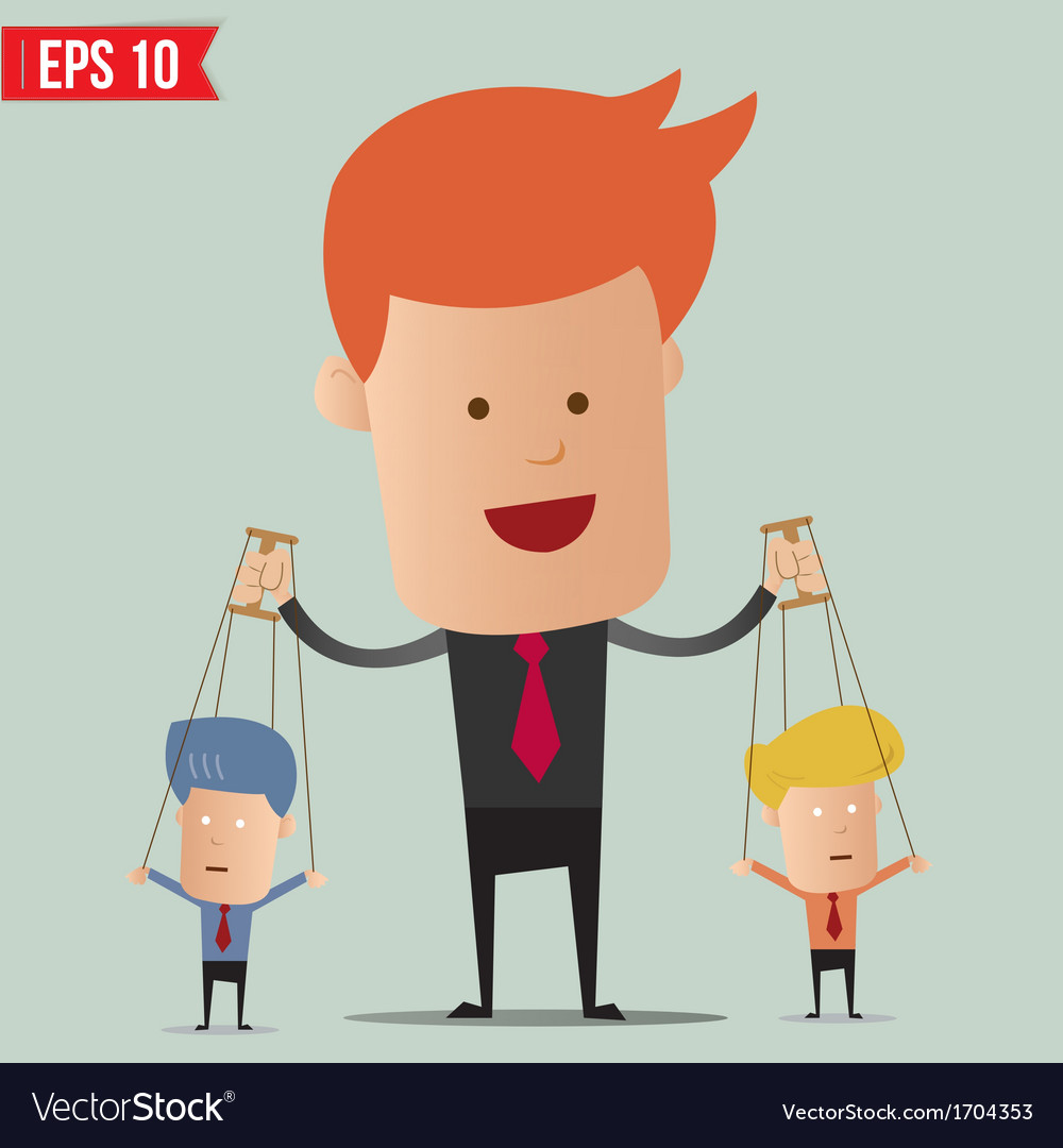 Business man control the doll - - eps10 vector | Price: 1 Credit (USD $1)