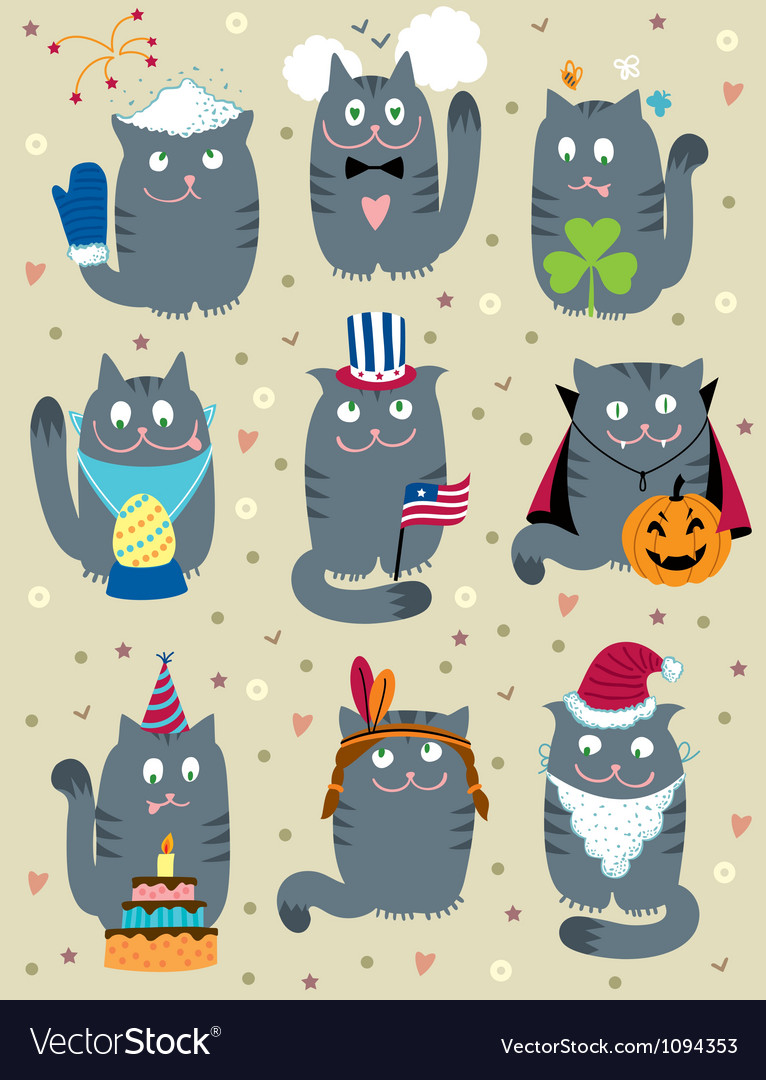 Cats celebrating holidays vector | Price: 3 Credit (USD $3)