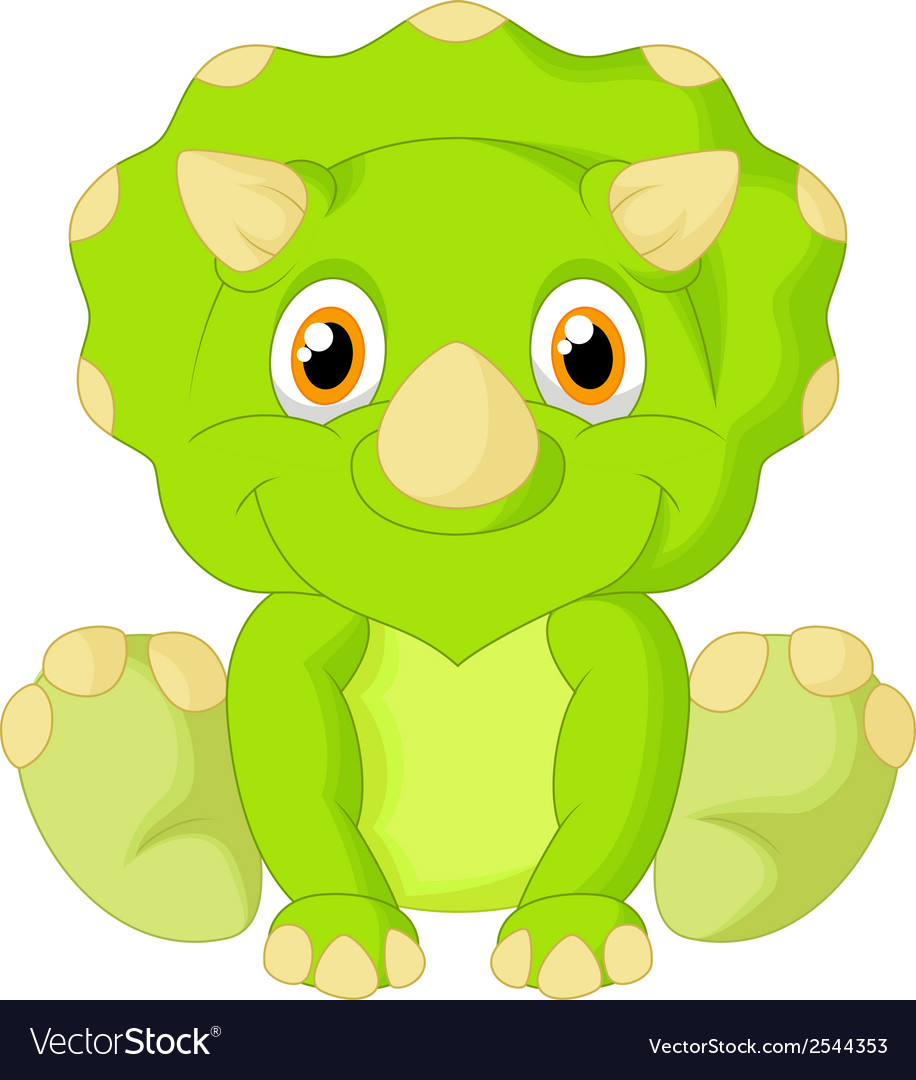 Cute triceratops cartoon vector | Price: 1 Credit (USD $1)